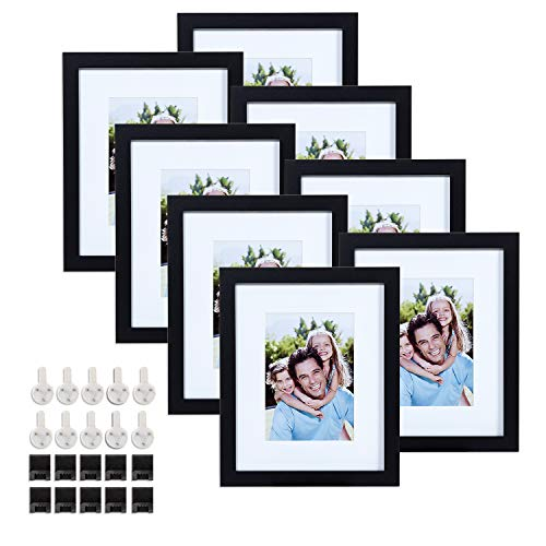 Sindcom 8x10 Black Picture Frames, Set of 8, Multi Photo Frames Collage, with Mat and Glass Face, Mounting Hardware Included, for Wall or Tabletop Display (Frames Photo X 8 10)