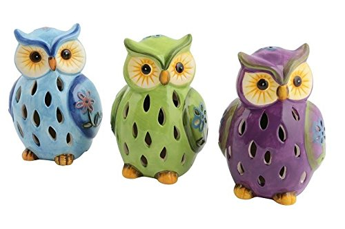 Lightahead Solar Owl Light Ceramic Owl Powered by Solar LED Light for Park, Patio, Deck, Yard, Garden, Home, Pathway, Outside Landscape for decoration and celebration