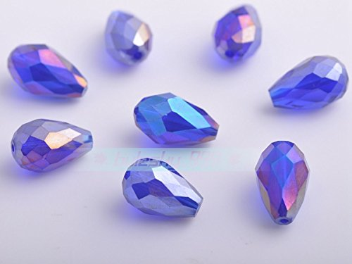 Deep Blue Ab 14X10mm 20pcs Teardrop Faceted Crystal Glass Charms Loose Spacer Beads 3mm 5mm 8mm 10mm ()