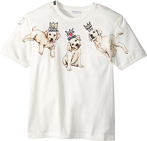Dolce & Gabbana Kids Girl's Dog T-Shirt (Big Kids) White Print 12 by Dolce & Gabbana