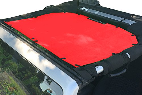 ALIEN SUNSHADE Jeep Wrangler Mesh Shade Top Cover with 10 Year Warranty Provides UV Protection for Front Passengers 2-Door or 4-Door JK or JKU (2007-2017) (Cherry Red)
