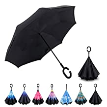 Inverted Umbrella by Everestor, Double Layer UV Protection Windproof Reverse Umbrella, Self-Standing & C-Shape Handle & Hands Free, Inside-Out Folding for Car Rain Sun
