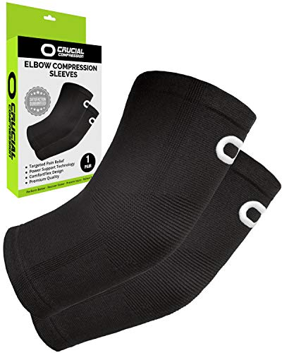 - Elbow Brace Compression Sleeve (1 Pair) - Instant Arm Support Elbow Sleeves for Tendonitis, Arthritis, Bursitis, Golfers & Tennis Elbow Brace, Treatment, Workouts, Weightlifting, Pain Relief, Recovery