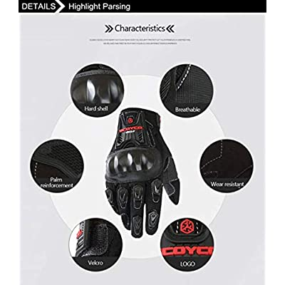 SCOYCO Ventilate Full Finger Hard Knuckle Protective Antislip Breathable Summer Outdoor Cycling Scooter Gloves (BLACK,M): Automotive