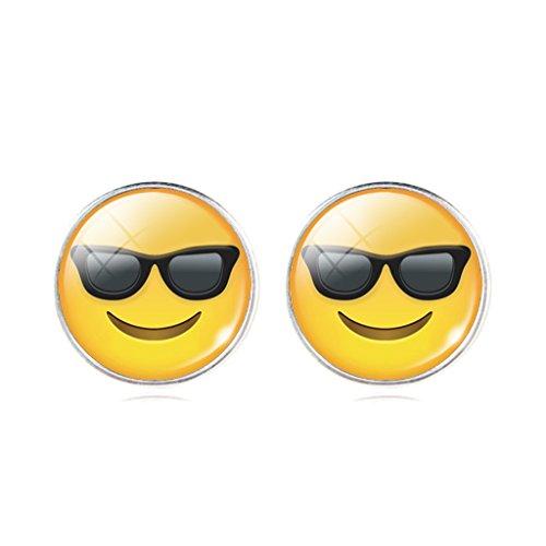 Women's Cool Wearing Sunglasses QQ Emoticon Earrings Glass Time Gem Earrings Festival - Third Eye Sunglasses