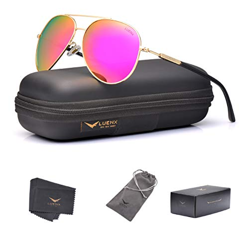 LUENX Aviator Sunglasses for Women Polarized Mirrored Rose Red Lens Gold Metal Frame Large 60mm
