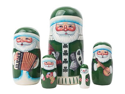 "Made in Russia Authentic Irish Santa Nesting Doll 5pc./5"" Saint Nicholas Collectible Babushka Russian Doll top quality 100% Guaranteed! by Golden Cockerel (Image #3)"
