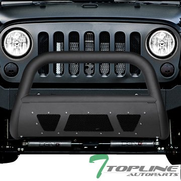 Topline Autopart Matte Black Studded Mesh Bull Bar Brush Push Front Bumper Grill Grille Guard With Skid Plate For 10-18 Jeep Wrangler JK