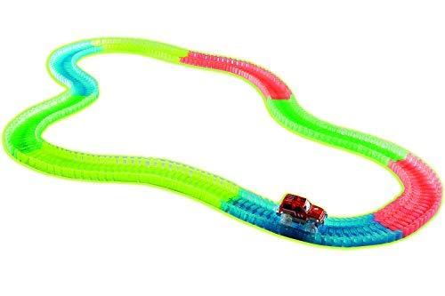 - Tech Toyz Best Children Kids Toy Variable Vehicle Car Track Set Toddler Development Playset with Race Car Flexible and Fun to Assemble Race Car Included Birthday Present (220 Piece Glow Track)