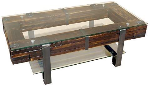 CHYRKA® Couchtisch Wohnzimmertisch LEMBERG Loft Vintage Bar IndustrieDesign Handmade Holz Glas Metall 60x60 cm
