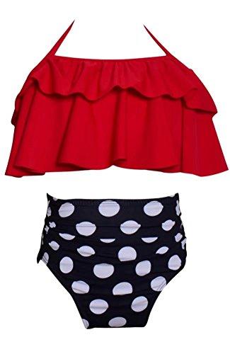 Ameyda Swimwear Mommy & Me Parent Child Swimwear, Little Girls 2 Pieces Ruffle Polka Dots High Waist Bikini Swimsuit, Red,2-3 Years 3 Piece Polka Dots Bikini
