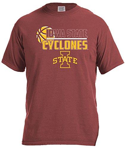 NCAA Iowa State Cyclones Basketball Logo Short Sleeve Comfort Color Tee, Small,Brick