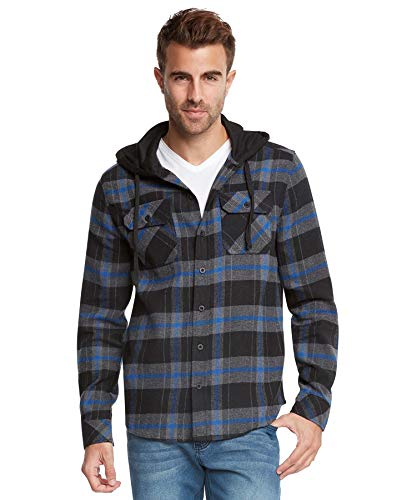 9 Crowns Men's Lightweight Hoodie Plaid Flannel Shirt-Black/Blue-S