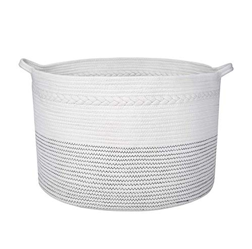 Nature Zenn XXXL Large Cotton Rope Laundry Basket Hamper and Toy Storage Basket -Premium Quality Collapsible Braided Wicker Basket Great for Toy Organizers for Kids - Decorative Baskets with Handles