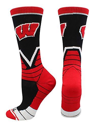 TCK Sports Wisconsin Badgers Victory Crew Socks (Black/Cardinal/White, Medium)