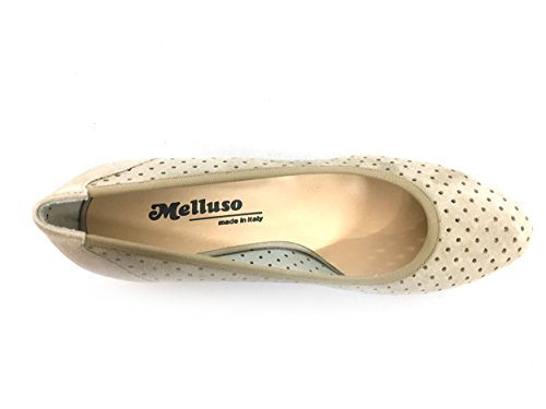 MELLUSO D106V Dune Scarpa Donna Decolletè Tacco Pelle Made in Italy Beige