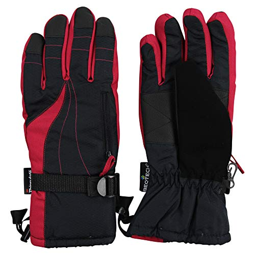 Women's Insulated Waterproof Winter Snow Ski Glove w/Utility Pocket (Black/Hot Pink, Medium) - Insulated Waterproof Breathable Utility Glove