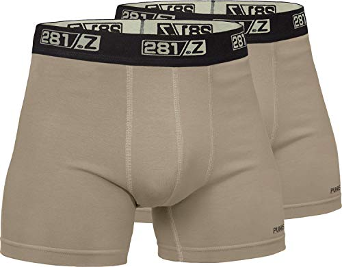 281Z Military Underwear Cotton 4-Inch Boxer Briefs - Tactical Hiking Outdoor - Punisher Combat Line (Large, Tan (2 Pack)) ()