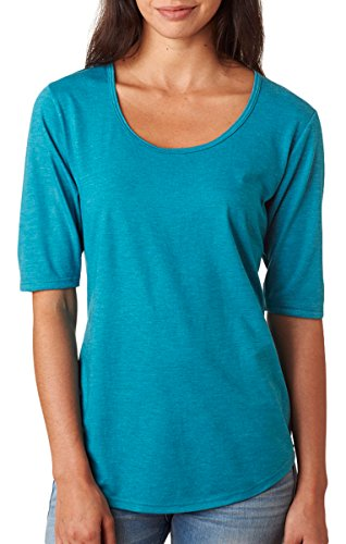 - Anvil Ladies Triblend Deep Scoopneck 1/2 Sleeve T-Shirt. 6756L - Small - Heather Galapagos Blue