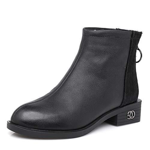 HOESCZS Stiefel Stiefel Stiefel Martin Herbst Und Winter Leder Frauen Schuhe Mode Martin Stiefel Flach Mit Runden Kopf Bloße Stiefel Mode Wild Stiefel b6e688