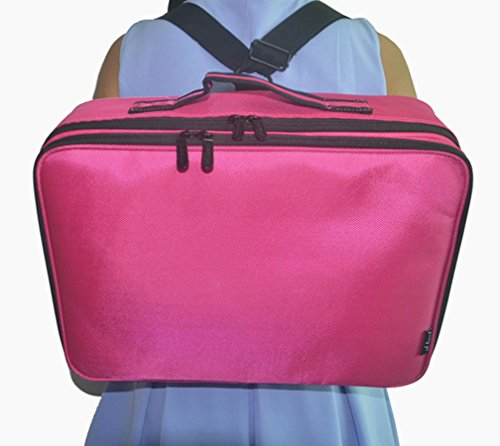 FLYMEI Professional Makeup Case 3 Layer Cosmetic Organizer 16'' Make Up Artist Storage with Shoulder Strap and Adjustable Divider, Pink by FLYMEI (Image #4)