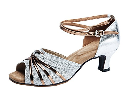 Ladies 5 Dance with Ballroom Glittering Ankle Straps Silver 8 Shoes Striped Salsa peeptoe Latin qwxqaZgrH