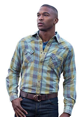 Ryan Michael Acid Washed Buffalo Plaid Shirt Saw Tooth Pocket Contrast Thread