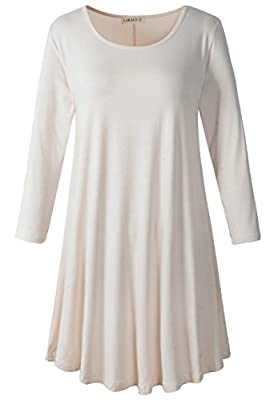 LARACE Women's 3/4 Sleeve Casual Swing T-shirt Dresses