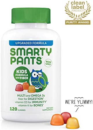 SmartyPants Kids Fiber Daily Gummy Multivitamin: Vitamin C, D3, E, Methyl B12, B6, Gluten Free Supplement, Omega 3 Fish Oil (DHA/EPA), Soluble Fiber, 120 Count (30 Day Supply) - Packaging May Vary