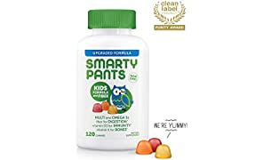 SmartyPants Kids Formula & Fiber Daily Gummy Multivitamin: Vitamin C, D3, & Zinc for Immunity, Gluten Free, Omega 3 Fish Oil (DHA/EPA), Vitamin B6, Methyl B12, 120 Count (30 Day Supply)