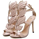 bf7cb283c6c JingZhou Summer Women High Heels Gold Winged Leaves Cut-Outs Stiletto  Gladiator Sandals Flame Party
