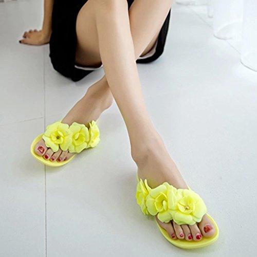 Plage Sandales Jaune Pantaoufles Talons Bohemia Sharplace Femme Fille Plat De Chaussures x4q7xA05wn