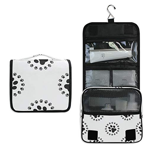 Hanging Travel Toiletry Bag - Dog Paw Pattern Cosmetic Makeup Bag Pouch Organizer for Women and Girls Waterproof - Four Paws Toothpaste