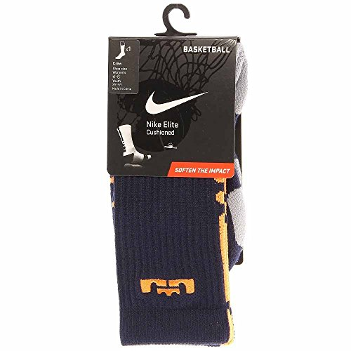 Nike Lebron Elite Cushioned Basketball Crew Socks Navy Orange SX4696-481 SZ 6-8 (Navy Elite Nike And Orange Socks)