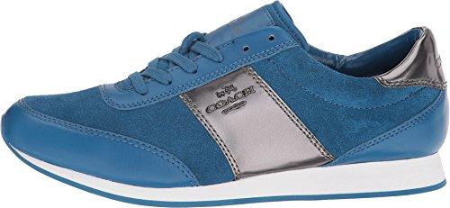 Coach Raylen Vrouwen Krijt Leer Lace Up Mode Sneakers Denim / Gunmetal Suede / Spiegel Metallic