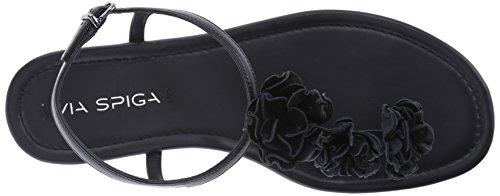 Flat Black Spiga Lola Via Women's Sandal zwCgAWRq