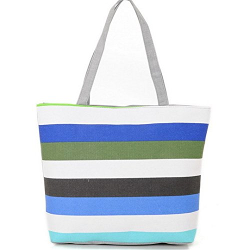 Summer Canvas Shopper Bag Striped Rainbow Prints Beach Bags (Canvas Shopper Print)