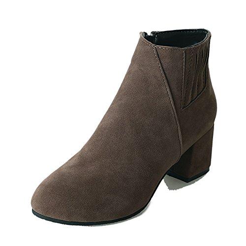 HSXZ Inverno donna Stivali Black stivali la pelle da passeggio Autunno Chunky da punta cucitura Babbucce tallone tonda combattimento Scarpe moda Stivali Stivaletti scarpe PU frqwfX