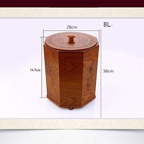ゴミ袋 ゴミ箱用アクセサリ 中国の木のゴミ箱の居間のホテルの寝室のゴミ箱カバークリエイティブレトロ収納ボックス キッチンゴミ箱 (サイズ : L)