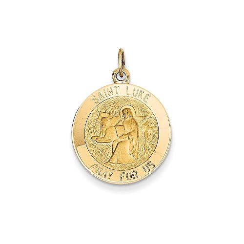 14k Yellow Gold Saint Luke Medal - Lukes Shopping St