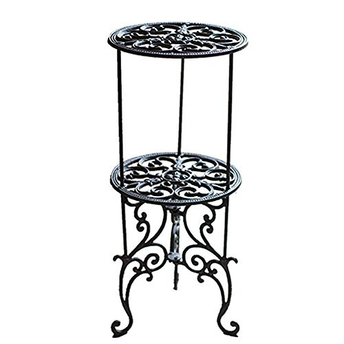 (Sungmor Heavy Duty Cast Iron Potted Plant Stand,26-Inch 2 Tiers Metal Planter Rack,Decorative Flower Pot Holder,Vintage & Rustic Style Indoor Outdoor Garden Pots Container Supports)