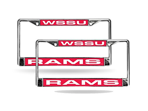Winston Salem State Rams Chrome Metal (2) Laser Cut License Plate Frame Set by Rico