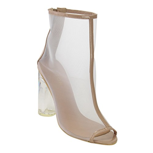 Beston DE45 Women's Ankle High Peep Toe Lucite Heel Bootie Sandals, Color:NUDE, Size:11