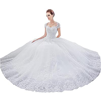 Nicefashion Sleeves Rhinestones Lace Empire Ball Gown Countryside Wedding Dress