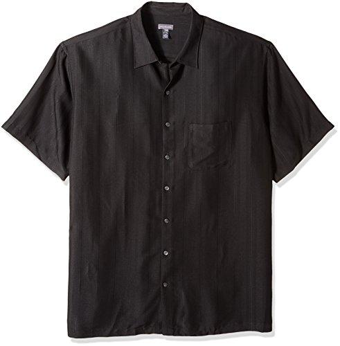 (Van Heusen Men's Size Big and Tall Poly Rayon Short Sleeve Button Down Shirt, Black, 3X-Large)