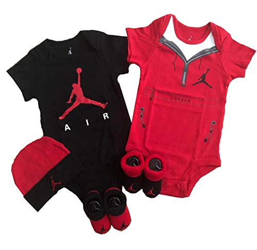 Nike Jordan 23 Jumpman 5 Piece Infant Set (Red Zipper/Black, 6-12 Months)