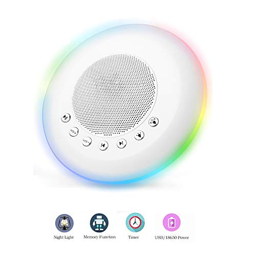 (Sound Machine - White Noise Machine for Sleeping, with LED Colorful Night Light 20 Soothing HiFi Sounds, Continuous or Timer, Rechargeable Battery or USB Output Charger)