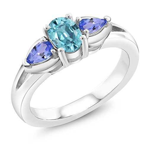 1.60 Ct Oval Blue Zircon Blue Tanzanite 925 Sterling Silver ()
