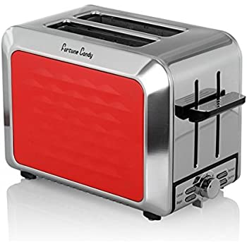 Fortune Candy Toaster 2 Slices Stainless Steel Toaster for Bagels with Wide Slots and High-Life Lever Keep Warm Toaster, Red
