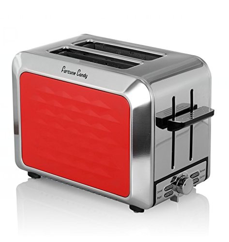 Fortune Candy KST009 Stainless Steel 2 Slices Toaster in Red